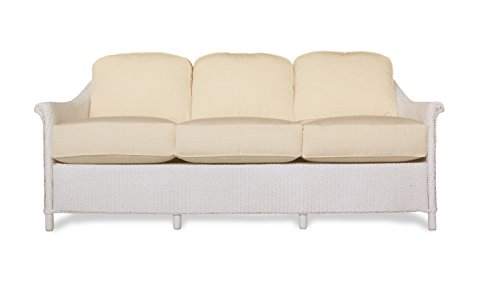 Lloyd Flanders 46355-001-982 Crofton Collection Sofa in White Loom Finish, Windward Stripe Seaside (Patio Lloyd Furniture)