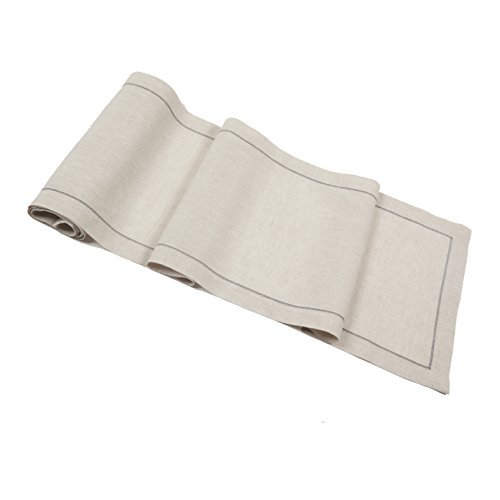 Pure Natural Linen Table Runner With Contrast Charcoal Hemstitch by Huddleson Linens