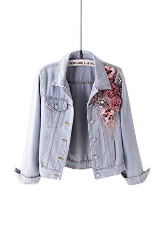 2019 Autumn Women Embroidery Dimensional Flowers Pearl Bead Denim Coat Jean - Dimensional Pearls