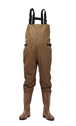 Azuki Taslan/PVC Fabrics Chest Wader with Two-Tone Quality PVC Boot-(Men Size 10 / Women Size 12)