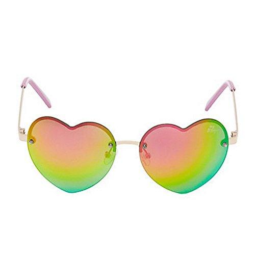 Betsey Johnson Women's Cross Your Heart Mirrored Sunglasses, - Heart Cross Logo And