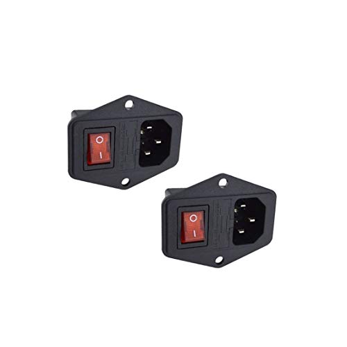 2 Pcs 3 Pin IEC320 C14 Inlet Module Plug 5A Fuse Switch Male Power Socket 10A 250V for Lab Equipment, Medical Devices