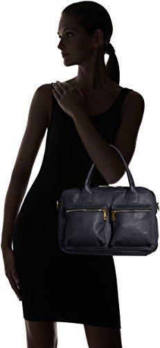 36x26x15cm Sac main d'épaule femme en 100 Italy Bleu Blu CTM à la et Made véritable cuir à in g4wfqxf8