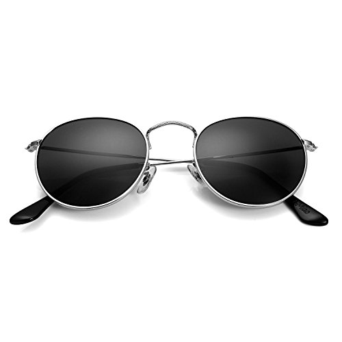 Small Round Vintage Mirror Lenses UV Protection Unisex Sunglasses by HMIAO (Silver Frame, - Uv Lenses Protection