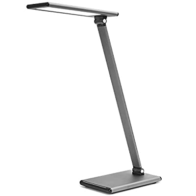 MoKo 8W LED Desk Lamp, Fully Touch Table Lamps, Stepless Adjusted Color Temperature and Brightness Level, Stronger Aluminum Alloy Body, Rotatable Arm/Head, Eye Protection, Memory Function - Dark Gray