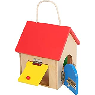 Small Foot Wooden Toys Compact House of Locks playset Designed for Children 3+, Multi