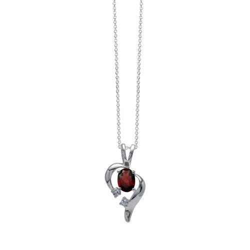 Cut Garnet 925 Silver Pendant (Natural Garnet & White Topaz 925 Sterling Silver Modern Heart Pendant w/ 18