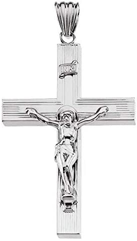 Sterling Silver 53x35 mm Hollow Crucifix Pendant Hollow Crucifix Pendant
