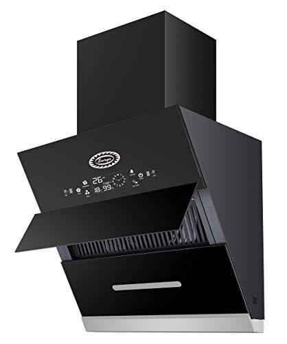 Surya Glass Kitchen Chimney Model SU1001-2021 in 2 Feet (Black) with Features Auto Clean, LPG Sensor, Wave Sensor