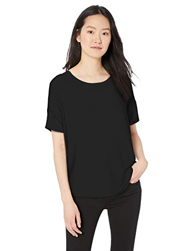 (Amazon Brand - Daily Ritual Women's Jersey Rib Trim Drop-Shoulder Short-Sleeve Scoop Top, Black, Small)