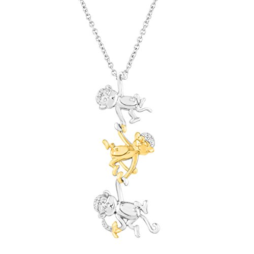 Monkey Trio Pendant with Diamonds in Sterling Silver and 14k Yellow Gold, 18