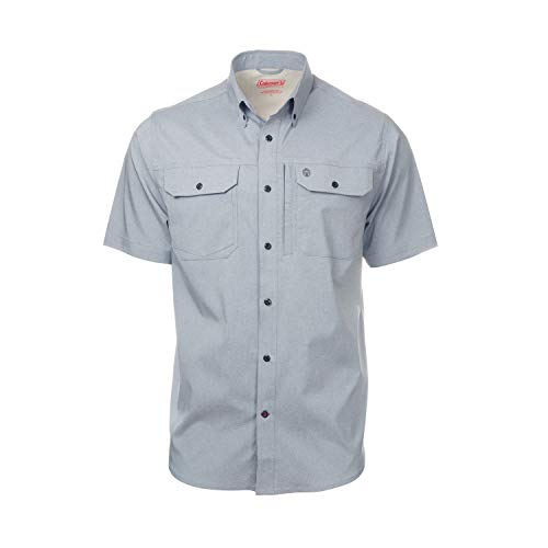 (Short Sleeve Heather Ripstop Guide Shirts for Men Sun Proof Spring Edition (Large, Grey Heather))
