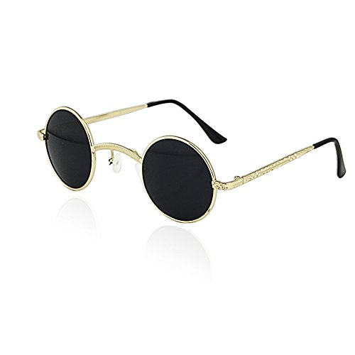 Best-topshop Mens Womens Steampunk Sunglasses Retro Style Round Glasses Cyber Goggles (Gold framed black - Sunglasses Style 1920s