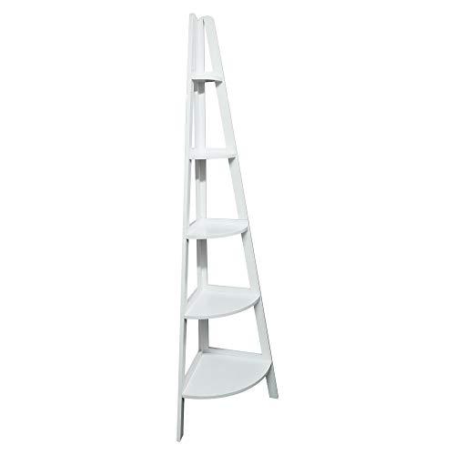 Casual Home 5-Shelf Corner Ladder White Bookcase