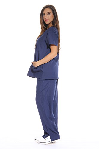 Just Love Women's Scrub Sets Six Pocket Medical Scrubs (V-Neck With Cargo Pant), Navy, X-Small by Just Love (Image #1)