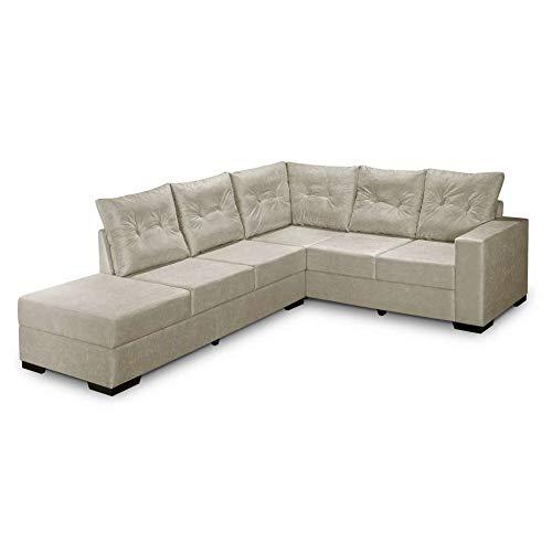 Sofa De Canto 5 Lugares Esquerdo Sevilha Suede Palha