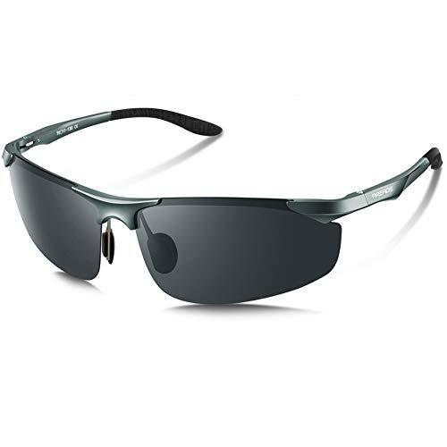 PAERDE Men's Polarized Sports Sunglasses for Men Driving Cycling Fishing Golf Running Metal Frame Sun Glasses (Gray 03)