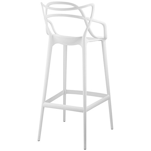 Modern Contemporary Urban Design Outdoor Kitchen Room Bar Stool Chair ( Set of Two), White, Plastic by America Luxury - Stools (Image #3)