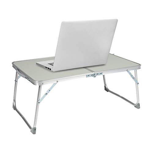 Milliard Aluminum Laptop Foldable Table, Breakfast in Bed Tray, Standing Desk and Couch Desk for Home Office and Travel - Folds in Half with Interior Storage Space Durable.