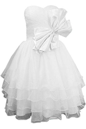 Toscana novia preferido en forma de corazón por la noche vestidos de organza lazo de dama de honor vestidos de fiesta de satén corto blanco