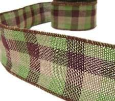 - Earthtones Brown Green Beige Plaid Country Rustic Primitive Burlap Wired Ribbon