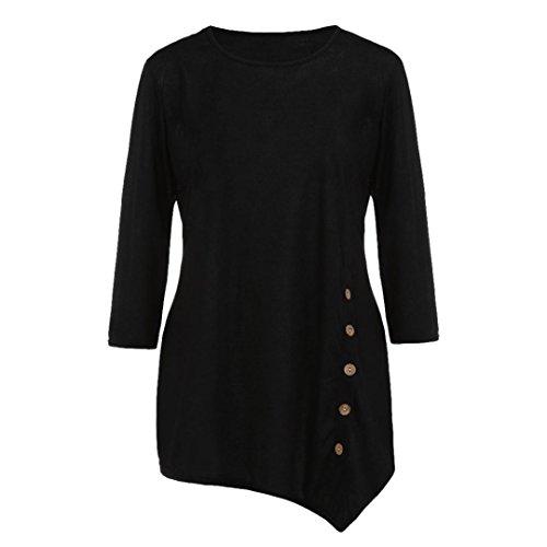 ABCone-Donna Pullover Felpa Bottone con Bottoni Allentati T-Shirt Maniche Lunghe Elegante Autunno Camicette Camicie Casual Tops Nero