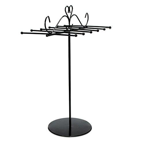 VENKON - Design Schmuckständer Kettenhalter Schmuck Organizer Armbandhalter Kettenständer aus Metall - schwarz - 31 x 20 cm