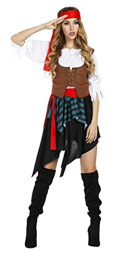 Women's Pirate Costume for Halloween Cos Maiden Buccaneer Costumes Adult Dress with Waist Seperate Belt&Headpiece]()