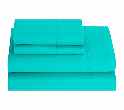 (King of Cotton Bed Sheets Set, 650 Thread Count Egyptian Cotton Sateen Aqua Blue Solid 4-PCs King Sheets Fits mattresses up to 24 Inches Deep Pocket.)