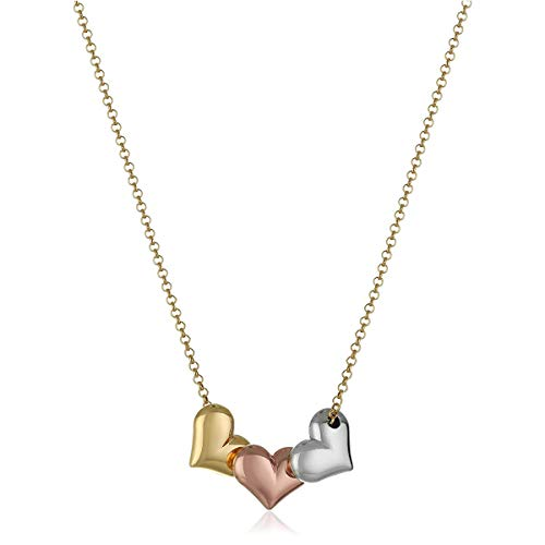 Three Tone Necklace - Puffed Heart Necklace in 14K Three-Tone Gold Plated Silver, 17