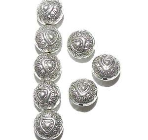 Steven_store MBL7111 Antiqued Silver 10mm Flat Puffed Round Heart Deco Metal Beads 50pc Making Beading Beaded Necklaces Yoga Bracelets (Puffed Heart Beads)