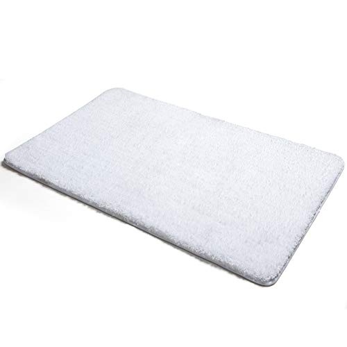 Poymecy Bathroom Rug Non Slip Soft Water Absorbent Thick Large Shaggy Floor Mats,Machine Washable,Plush Bath Mat (White,24×16 Inches)