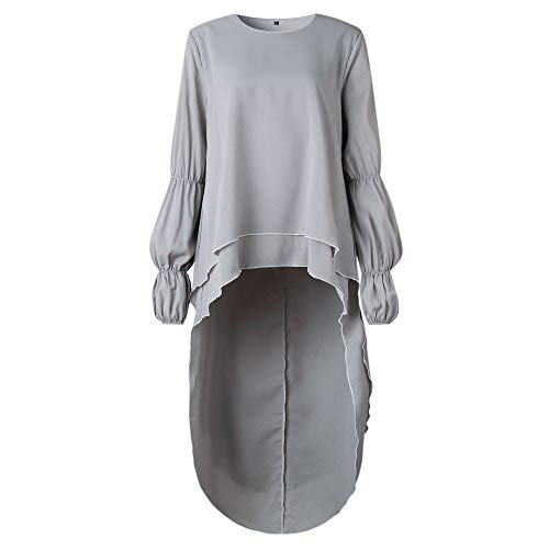 Dentelle XXXL Long Chemisier Tops Garniture Shirt Fathoit Gris Pull Femmes Tunique Cieanc Longues Asymtrique Bleu Manches B85n7Fd