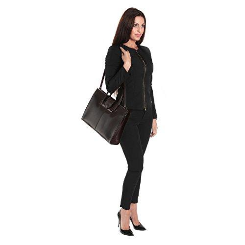 Maletín de cuero italiano, bolso de mano Cartel, Mujer Made in Italy 40x30x10 Cm Marron Oscuro