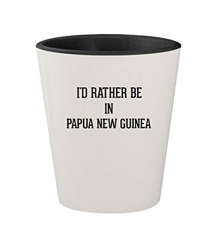 I'd Rather Be In PAPUA NEW GUINEA - Ceramic White Outer & Black Inner 1.5oz Shot Glass