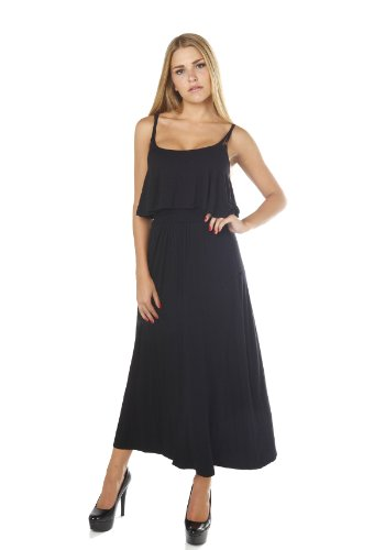 Cut Out Back Long Strappy Dress With Top Layer - Black, Size - Medium