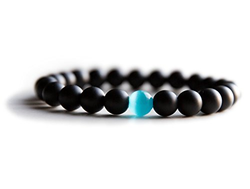 Mens Bracelet - Matte Black Onyx + Water Drop Cat Eye - Natural Handmade Genuine Quality - Comfort Elastic - 8mm beads - a Faith + Charity Bracelet by Benevolence LA - Large 7.5-8 Inch (Cats Eye Jewellery)