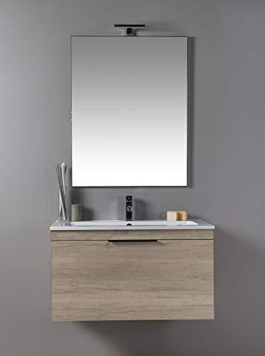 SOSPESO con cassettone da 70 cm MOBILIA Neve MODERNO Mobile da bagno con LAVABO e SPECCHIERA BIANCO