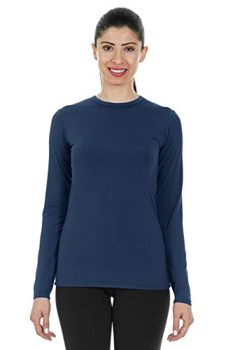 Thermajane Women's Ultra Soft Thermal Shirt - Compression Baselayer Crew Neck Top - Fleece Lined Long Sleeve Underwear T Shirt (Navy, - Tops Long Sleeve Underwear