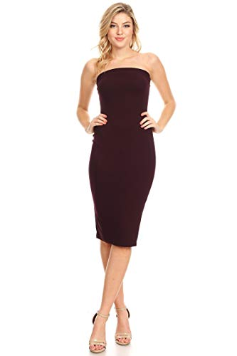 - Casual Solid Comfy Sexy Strapless Midi Bodycon Tube Dress/Made in USA Plum XL