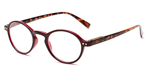 Readers.com Reading Glasses: The Studio Reader, Plastic Round Style for Men and Women - Dark Red and Tortoise, 2.25