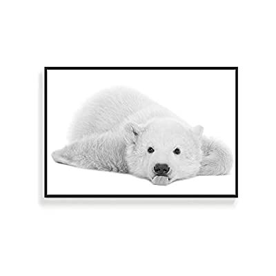 Framed for Living Room Bedroom Black and White Cute Wild Animals for, Quality Artwork, Handsome Piece of Art