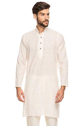 Shatranj Men's Indian Band Collar Long Tunic Kurta Fine Stripes and Embroidery; Lemon; - Man Indian Model