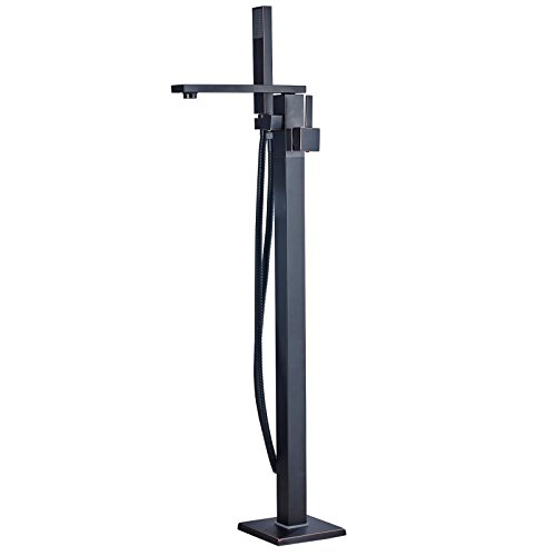 Votamuta Single Lever Floor Mounted Bathroom Tub Filler with Handheld Spray Free Standing Shower Faucet,Oil Rubbed Bronze