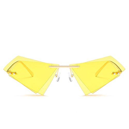 Hommes sans Lunettes Les Lens Yellow Frame Monture Triangle Lens Frame Femmes Double Sakuldes pour Les Soleil Tea de Sunglasses et Gold Color Gold f780wq4