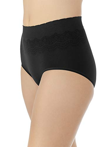 (Vanity Fair Women's No Pinch-No Show Seamless Brief Panty 13170, Midnight Black, 2X-Large/9)