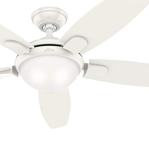 Hunter 54 in. Contemporary Ceiling Fan with LED Light and Remote Control Renewed Fresh White