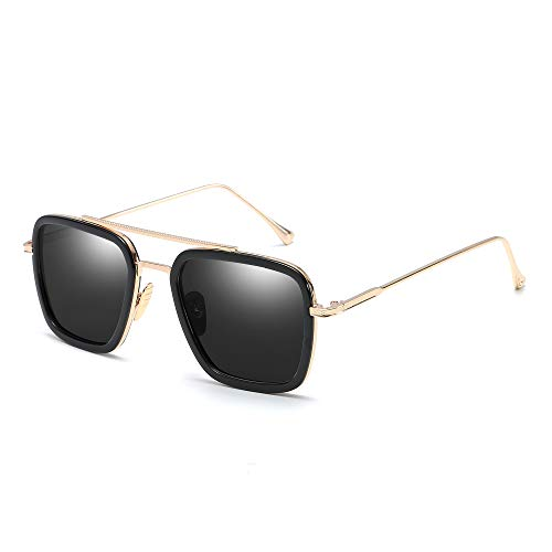 Retro Aviator Sunglasses for Men Women Square Metal Classic Sun Glasses Designer Shades (Black Frame/Black - Frame Square Metal