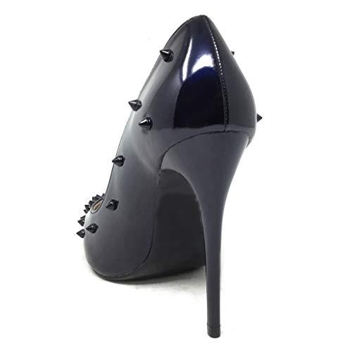 5d09b9ba0127cf Sexy Mode Aiguille Cm Soirée Haut Angkorly Femme Chaussure Talon Escarpin  11 Stiletto Verni Bleu Clouté 5PqXwx