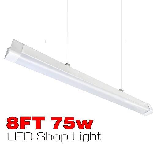Cove 2 Flute - 2 Pcs of 8ft LED Shop Light Fixture,75W 8500LM,IP66 Waterproof, LED Shop Linear Strip Light Fixture for Garage,Workshop,Warehouse,Auto Shop Lighting